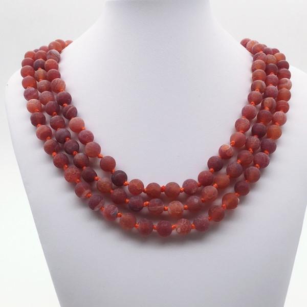 8 мм 60 дюймов ручной завязывают матовый красный агат, длинное ожерелье, 8 мм красный агат бусы ожерелье, драгоценный камень ожерелье, подарки