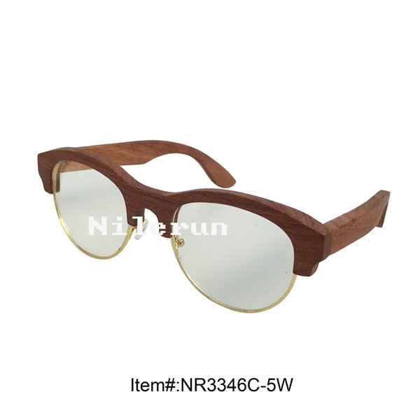 gold wire rosewood frame optical spectacles