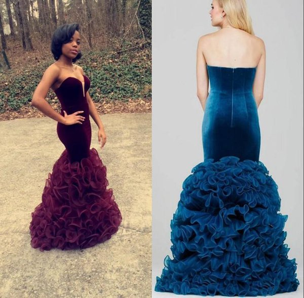 Emerald Velvet Mermaid Prom Dresses 2017 Burgundy Evening Gowns Long Sexy Sweetheart Neck Ruffles Organza Skirt Slim Fitted Formal Party