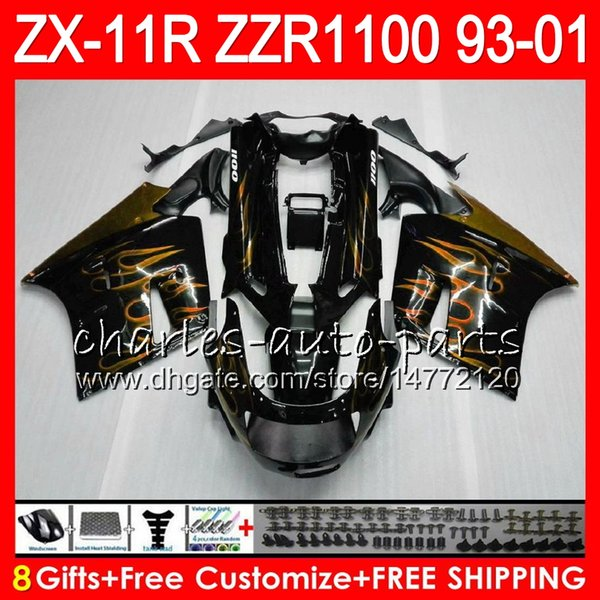 8Regalos para KAWASAKI NINJA ZX11 ZX11R 93 01 98 99 00 01 ZZR 1100 22NO75 Oro llamas ZZR1100 ZX-11R ZX-11 1993 1998 1999 2000 2001 2001