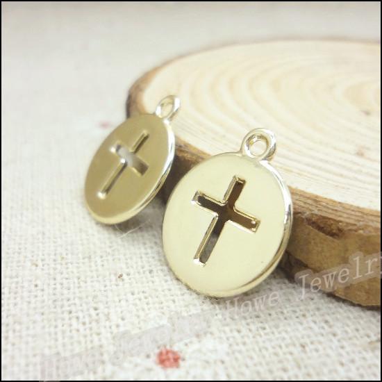 Atacado-Atacado 45PCS KC banhado a ouro encantos Pingente Cruz Fit Fit Pulseiras DIY Necklace Jewelry Making Metal