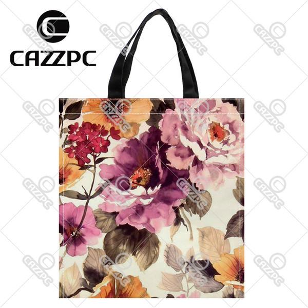 b34540ad9 Wholesale- Vintage Elegant Watercolor Peony Flowers Print individual Nylon  Oxford Reusable Shopping Bag Gift Foldable