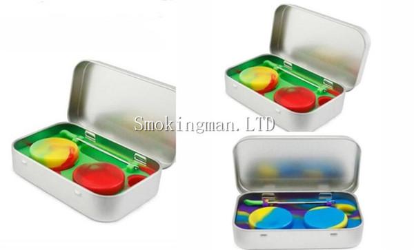 Venda quente 4 em 1 Estanho Kit De Armazenamento De Silicone Set com 2 pcs 5 ml Recipiente de Cera De Silício Óleo Jar Base de Prata Dab Dabber Ferramenta de Metal caso