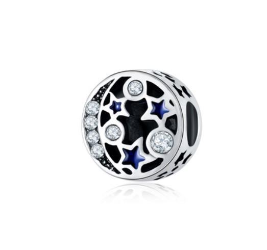 Für Pandora Armbänder 30 stück Emaille Sterne Mond Nebel Silber Charme Perle Charme Für Großhandel Diy Europäischen Halskette PendantSnake Kette Armband
