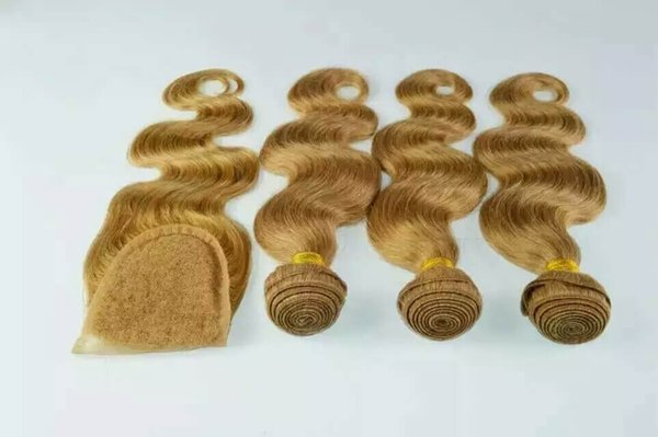 Human hair bundle lace closure weaves closure 100grams/pcs blonde lace closure with bundles brazilian virgin hair sew in hair extensions