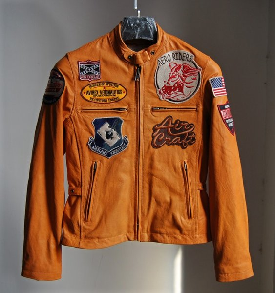 Yellow Men's Punk locomotive suit multi standard Jacket motorcycle clothes first layer cowhide genuine leather real picture show