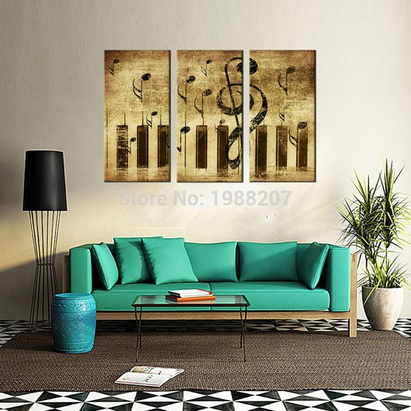 2019 3 Panles Piano Score Canvas Paintings Wall Art Painting Music Pictures Prints On Canvas For Home Wall Decor With Wooden Framed From
