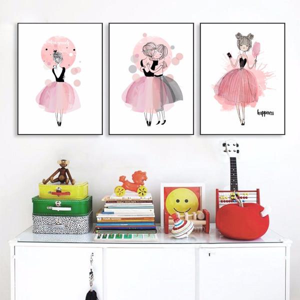 Großhandel Aquarell Mädchen Leinwand Kunstdrucke Kinderzimmer Poster  Wandbilder Für Mädchen Illustration Kinder Baby Zimmer Dekoration Giclee  Wall ...