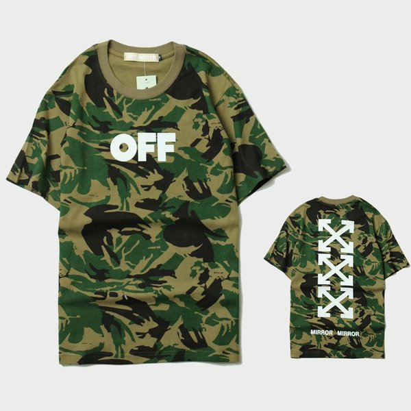 a0957fb3 2017 Off-White Camouflage Tee Arrows Mirror Printed Short Sleeve T-Shirt  Men's Military