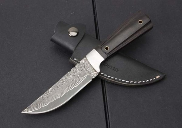 Drop Shipping Damascus Survival Straight Knife Drop Point Blade Ebony Handle Outdoor Camping Hunting Fixed Blade Knives With Leather Sheath