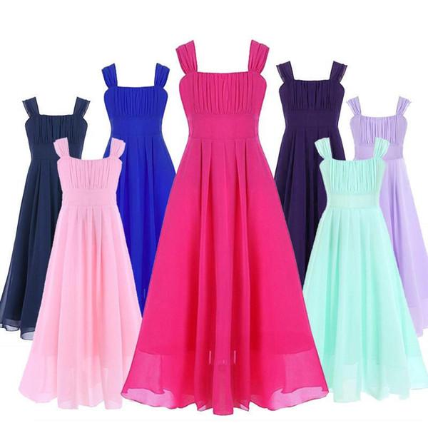 4-14 Kızlar Şifon Çiçek Kız Elbise Çocuklar Pageant Parti Düğün Nedime Balo Balo Prenses Resmi Occassion Çiçek Elbise
