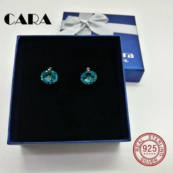 cara 2017 New 5 colors Ladies luxury for SWAROVSKI fashion earrings 925 sterling silver hoop earrings for women jewelry gift box CARA0105