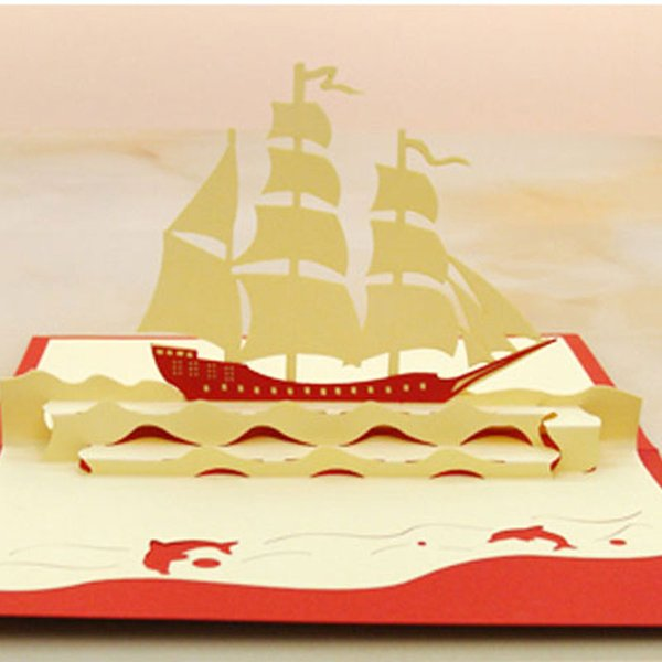 3D Pop Up Vintage Sailing Boat Design Christmas New Year Greeting Card Hollow Folding Birthday Card Kirigami Postcard