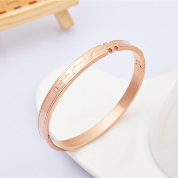 Braccialetto d'acciaio di titanio di colore dell'oro della rosa 14K che mette per sempre i braccialetti di amore del diamante eterno per il regalo di anniversario delle coppie