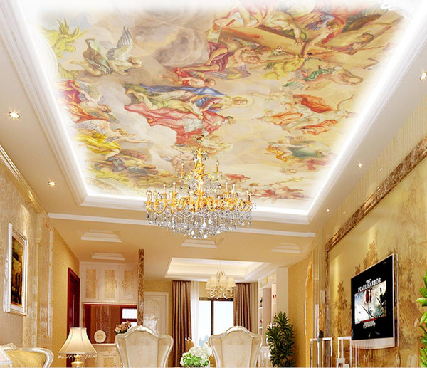 top popular European-style roof painting ceiling ceiling wallpaper mural 3d wallpaper 3d wall papers for tv backdrop 2021