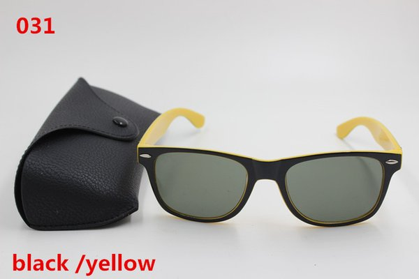 Free shipping 1 pcs new inside to the outside of the high quality men and women fashion 2140 sunglasses black yellow framework 51mm