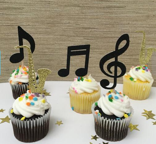 Wholesale- Gold glitter Saxsophone Jazz theme Music party. New Orleans Orchestra event. Cupcake Toppers Wedding Bridal Shower toothpicks