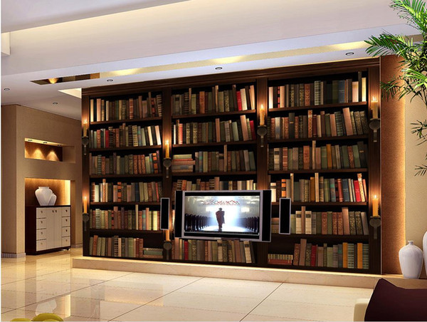 High Quality Customize size Modern 3D Fresco Decorative Wallpaper Book Bookcase Bookcase Background Wall