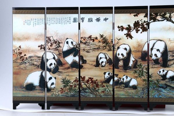 Collection Folk Art Chinese Lacquer Handwork Painting panda Screen Scroll NR gd0450