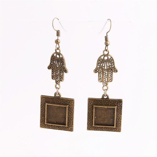 SWEET BELL 12pcs/lot Metal Alloy Zinc Hamsa Hand Charm Fit Square 12.5mm Cabochon Set Pendant Drop Earing Jewelry Making C0813