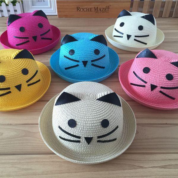 The new children's cartoon summer sunshade hat 1-2 year old straw hat spot wholesale