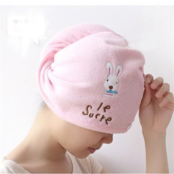Wholesale- Bathroom Accessories Super absorbent Lovely Hair Towel Turban Hair-Drying Cap Bathrobe Hat Head Wrap Quick Dry C4