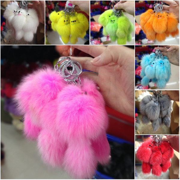 Solid Color Fox Fur Ball Keychain Handbag Key Gold Ring Car Key With Christmas Gift 18 Color C134Q