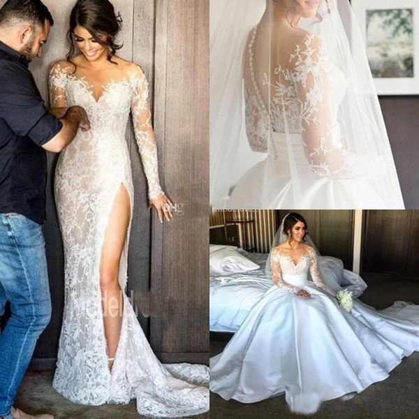 top popular Plus Size 2019 Lace Mermaid Wedding Dresses With Detachable Skirt Sheer Neck Long Sleeves Sheath High Slit Overskirts Bridal Gowns African 2019