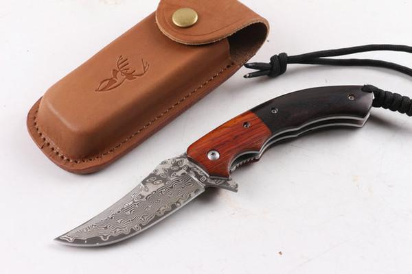Promtoion VG10 Damasco acero Flipper hoja plegable cuchillo 57HRC hoja acero mango madera EDC cuchillo de bolsillo supervivencia exterior cuchillo táctico