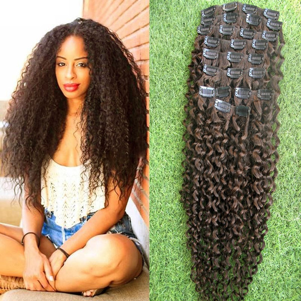 top popular #4 Dark Brown Kinky curly clip in hair extensions 9pcs african american clip in human hair extensions 100g afro kinky curly clip ins 2019
