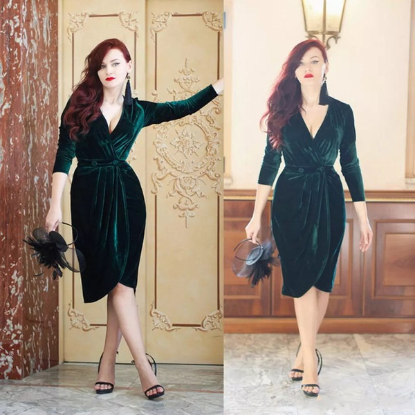 Emerald Green Velvet Evening Dresses Knee Length Charming Deep V Neck Party Cocktail Dress Long Sleeves Formal Bride Gown Custom Made