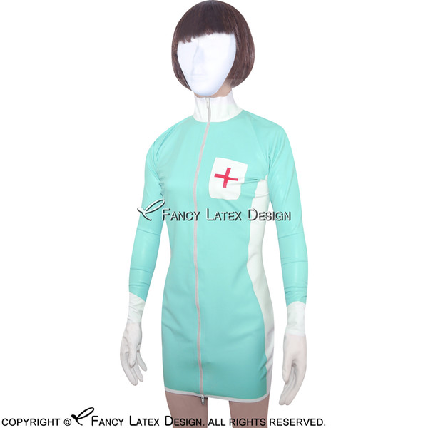 Jade Green Sexy Fetish Latex Nurse Uniform Sets Rubber Dress With Cross Decoration Zipper At Front LYQ-0010