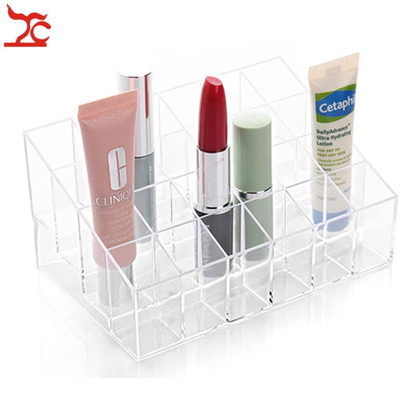 Trapezoid Clear Plastic Makeup Display Stand 24 Grid Cosmetic Orgazional Case Clear Acrylic Lipstick Display Stand Jewelry Boxes Free Ship