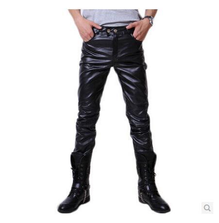 Wholesale- 2015 Hip Hop Mens Black Leather Pants Faux Leather Pu Material Black Color Motorcycle Skinny Faux Leather Pants
