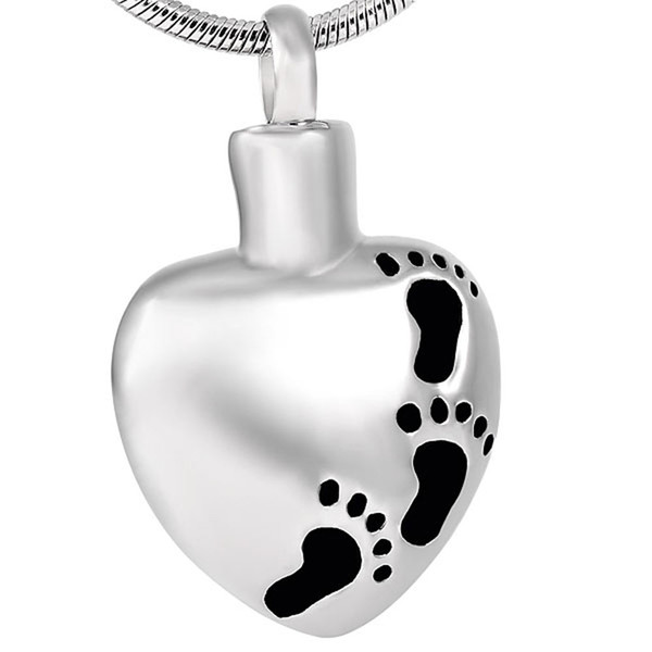 IJD8377 Classic Design Stainless Steel baby footprints in my heart Keepsake Urn cremation jewelry for Ashes Pendant Necklace