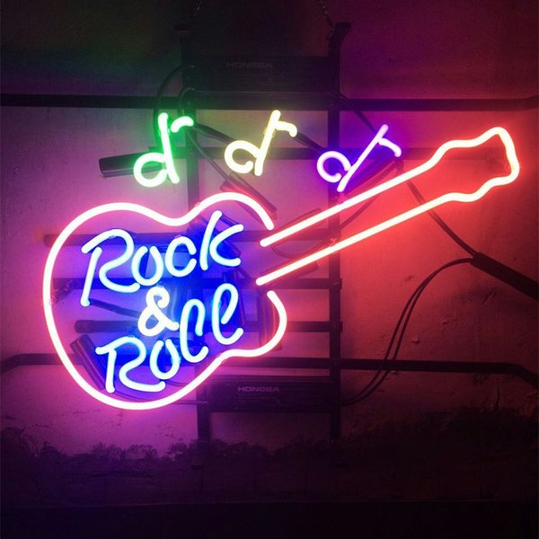 """17""""x14"""" Rock and Roll LIVE MUSIC GUITAR Real Glass Neon Sign Beer Sports Bar Light Store Decor"""
