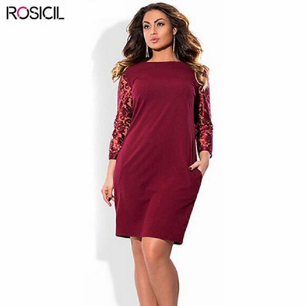 2018 Ms Spring Autumn Dress 2017 New Elegant Mesh Sleeve Plus Size