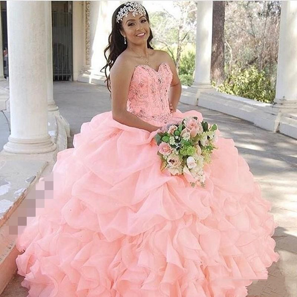 Princess Organza Ball Gown Crystal Quinceanera Dress 2019 Plus Size Tiered Ruffles Exposed Boning Beads Corset Sweet 16 Prom Dresses DTJ