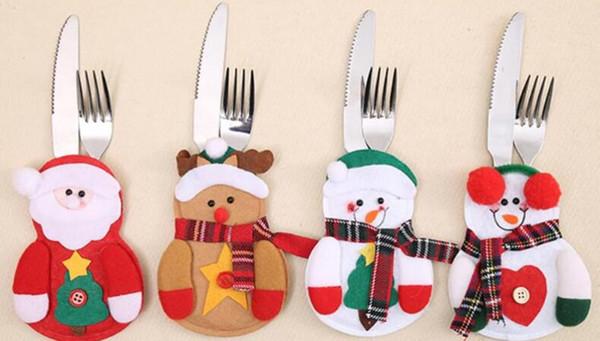 2018 De Noël Fourchette Cuillère Couteau Sacs Père Noël Sacs À Couverts En Plein Air Sac De Vaisselle pour Pique-Nique Randonnée De Noël Décoration