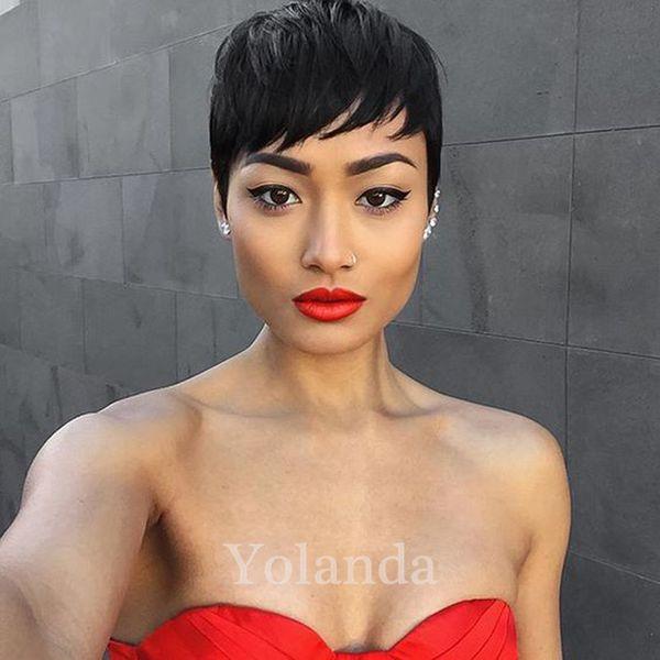 Parrucca corta corta non trattata 100% vergine Bob brasiliana corta Bob parrucche dei capelli umani parrucche dei capelli umani pixie per le donne nere