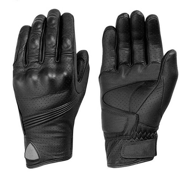 best selling Motocross Full Finger Luvas Full Leather Retro motorcycle gloves summer motorbike protective Gear Women Men black Motorbike Bicycle gloves