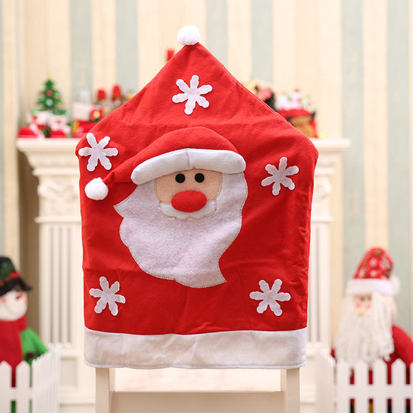 2017 New Year Christmas Decorations Santa Claus Hat Dinner Table Chair Back Covers For Party Home Decorations Crafts Hotel Top Christmas Decorations