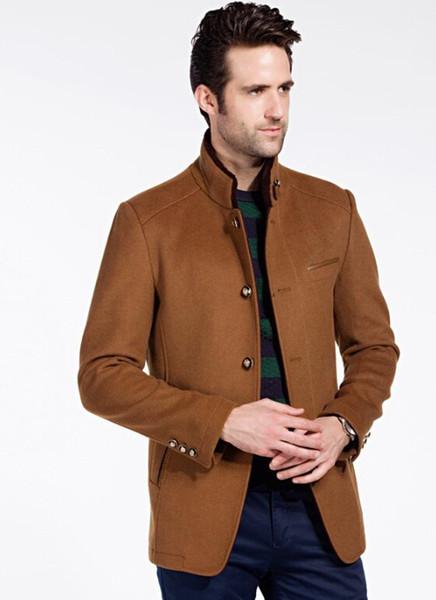 Trasporto libero all'ingrosso cappotto di lana invernale slim fit giacche moda tuta sportiva migliore quanity caldo uomo giacca casual cappotto soprabito pea plus size