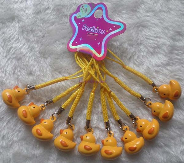 New Lot 80 pcs Cartoon lovely little Yellow Duck Bell Cell Phone Charm Strap