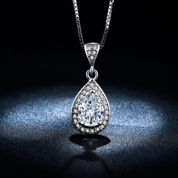 Vintage Water Drop Ожерелья Подвески CZ Бриллиантовое Обручальное Свадебные Украшения Ожерелье из Белого Золота для Партии Подарки