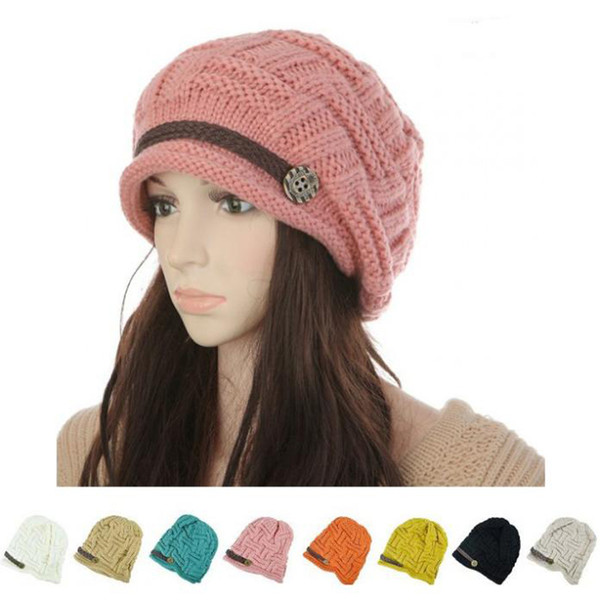 2017 Women Winter Knitted Beanies New Fashion Women's Hats Warm Black Lady's Caps Acrylic Woman's Headwear Hat For Female