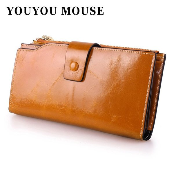 YOUYOU MOUSE Genuine Leather Cowhide Women Wallets Korean Oil Wax Paper Long Womens Wallets New Fashion Design Clutch Creative