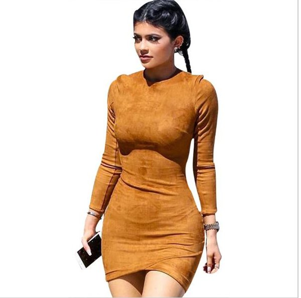 various colors 23f82 17500 Großhandel 2016 Langarm Slim Party Kleid Sexy Club Braun Vestido Frauen  Winter Kleider Kylie Jenner Haut Enge Faux Wildleder Bodycon Kleid Von  Fuzhi, ...