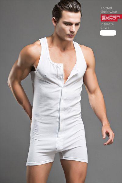Wholesale free shipping Sexy Men Bodysuit Gay Penis Pouch Man Body Suits Superbody Sexy Man Bodywear Bodybuilding Cotton Tank Top Sing