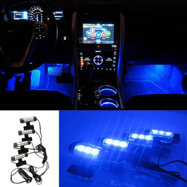 Car Charge Innenzubehör Fuß Auto dekorative 12V 4 x 3 Blue LED Glow Neon Decor Innenleuchten Set